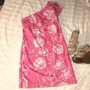 One shoulder ruffled Lilly Pulitzer dress